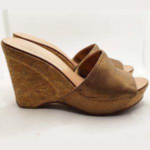 Diane Von Furstenberg leather cork wedge sandals